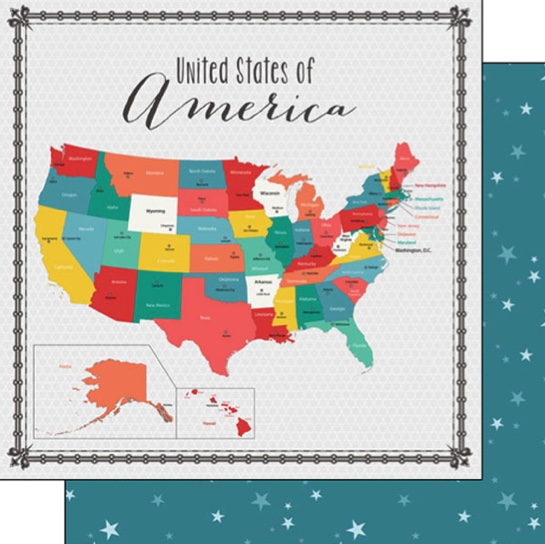 USA Memories Map 12x12 Double Sided Scrapbooking Paper