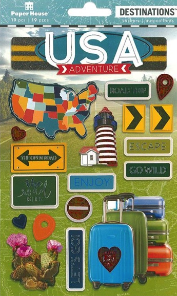Discover USA 3D Destinations Scrapbooking Stickers
