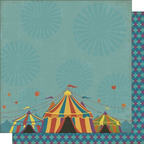 Circus Circus 12x12 Double Sided Glittered Scrapbooking Cardstock