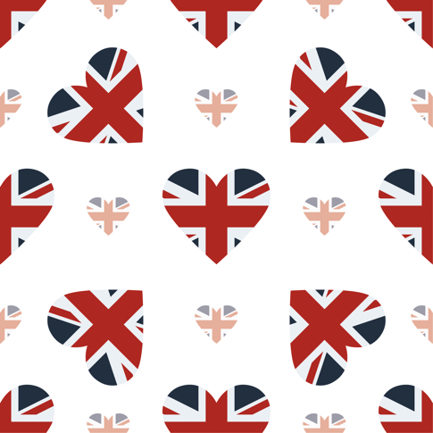 British Hearts 12x12 Scrapbooking Paper