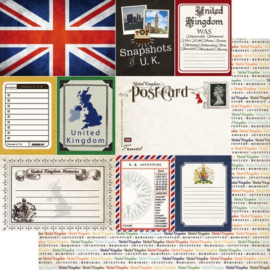 United Kingdom Journal 12x12 Double Sided Scrapbooking Paper