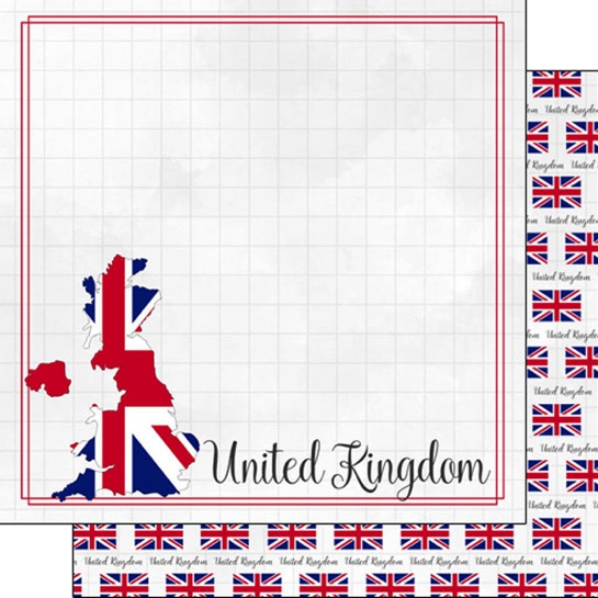 United Kingdom 12x12 Double Sided Scrapbooking Paper