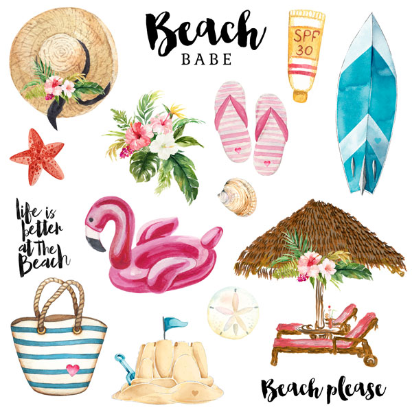 Vacay Beach Babe Cut Outs 12x12 Scrapbooking Paper