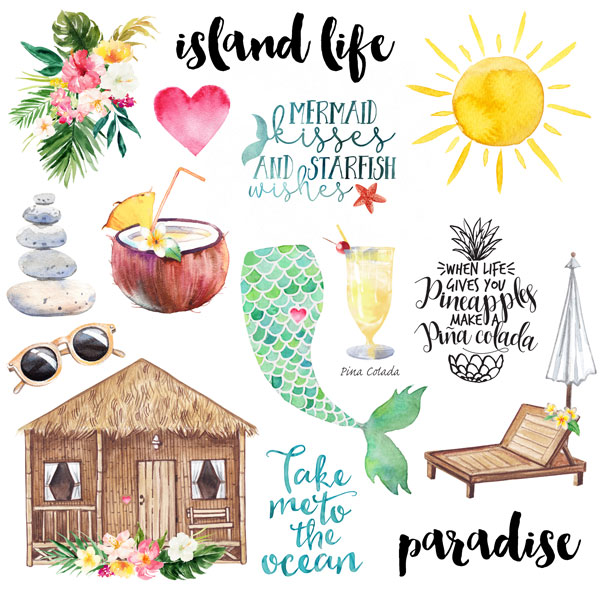 Vacay Island Life Cut Outs 12x12 Scrapbooking Paper
