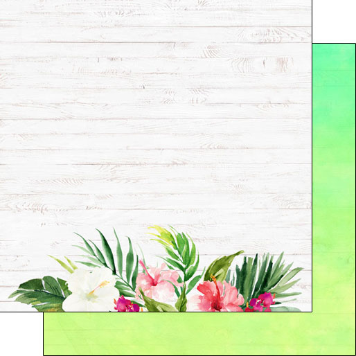 Vacay Floral Bottom 12x12 Double Sided Scrapbooking Paper