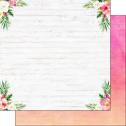 Vacay Floral Corners 12x12 Double Sided Scrapbooking Paper