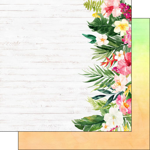 Vacay Floral Edge 12x12 Double Sided Scrapbooking Paper
