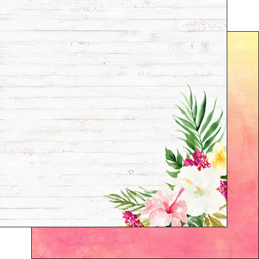 Vacay Floral Side 12x12 Double Sided Scrapbooking Paper