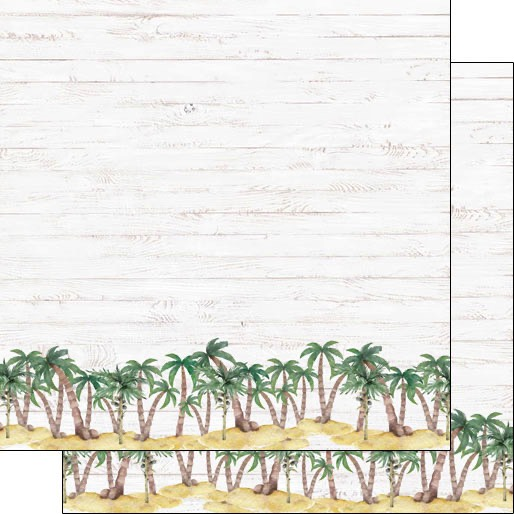 Vacay Palm Border 12x12 Double Sided Scrapbooking Paper