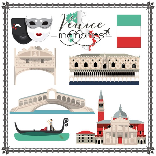 Venice Memories Cut Outs 12x12 Scrapbooking Paper