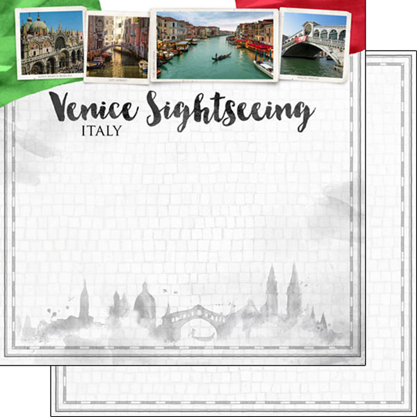 Venice Sightseeing 12x12 Double Sided Scrapbooking Paper