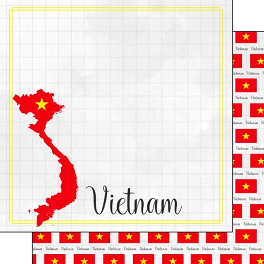 Vietnam 12x12 Double Sided Scrapbooking Paper