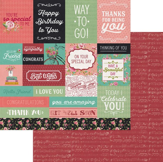 Vintage Girl Birthday 12x12 Double Sided Scrapbooking Paper