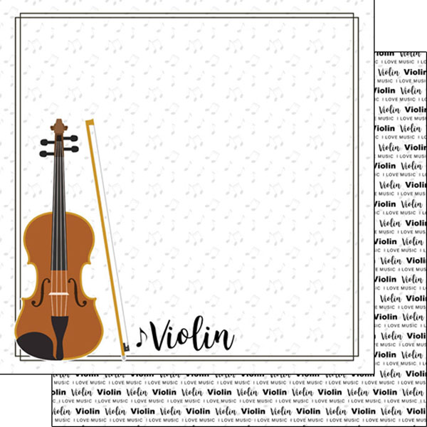 Violin 12x12 Double Sided Scrapbooking Paper