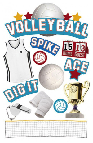 Volleyball 3D Glitter Scrapbooking Stickers