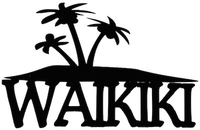 Waikiki Scrapbooking Laser Cut Title with Palm Trees