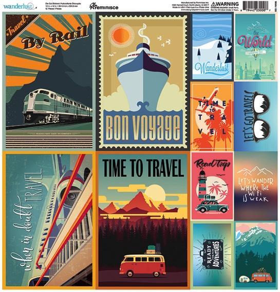 Wanderlust Poster 12x12 Cardstock Scrapbooking Stickers