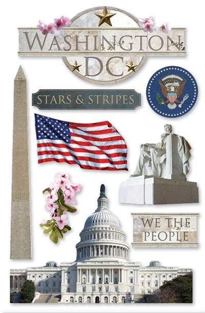 Washington DC 3D Scrapbooking Stickers