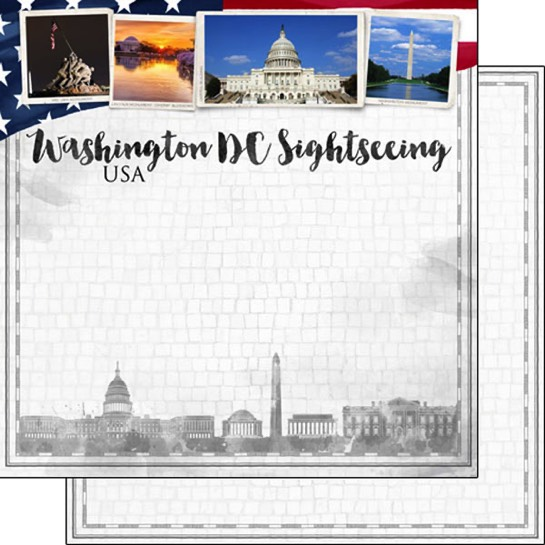 Washington DC Sightseeing 12x12 Double Sided Scrapbooking Paper