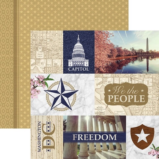 Washington DC Tags 12x12 Double Sided Scrapbooking Paper