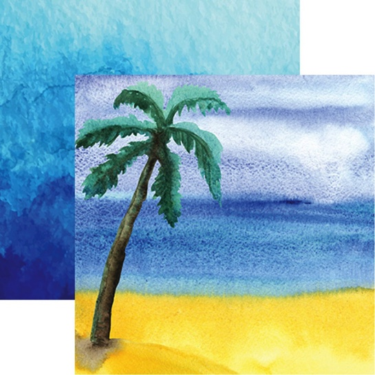 Watercolour Palm Double Sided 12x12 Scrapbooking Paper