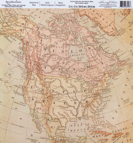 Weathered Map USA and Canada 12x12 Scrapbooking Paper