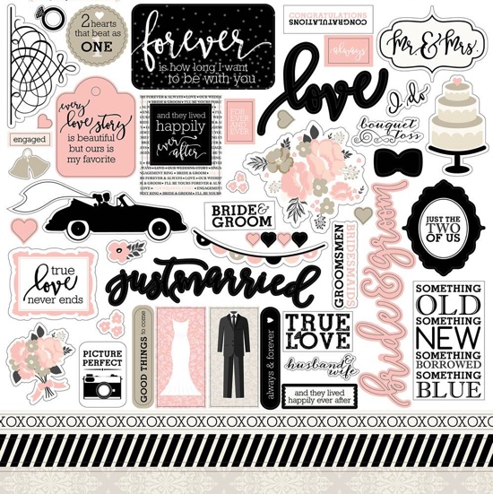 Wedding Bliss 12x12 Cardstock Scrapbooking Stickers and Borders