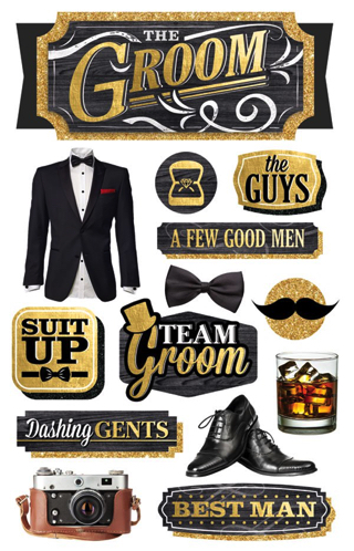 Groom 3D Scrapbooking Stickers with glitter