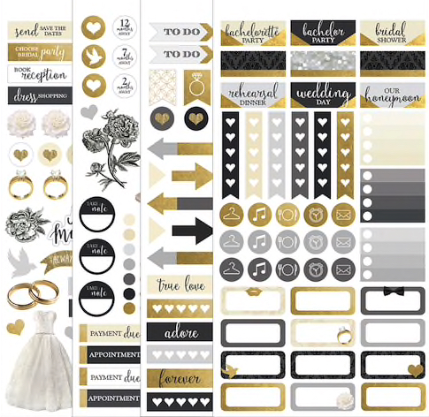 Wedding Scrapbooking Stickers Four Sheets