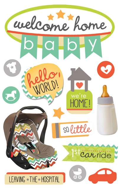 Welcome Home Baby 3D Glitter Scrapbooking Stickers