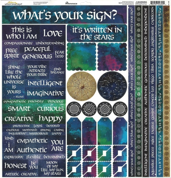 What's Your Sign 12x12 Cardstock Scrapbooking Stickers and Borders