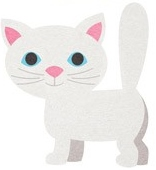 White Cat Die Cut Scrapbooking Sticker