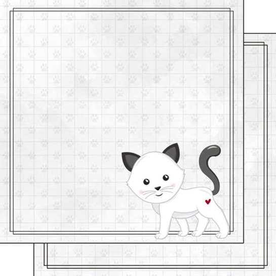 White Cat 12x12 Double Sided Scrapbooking Paper