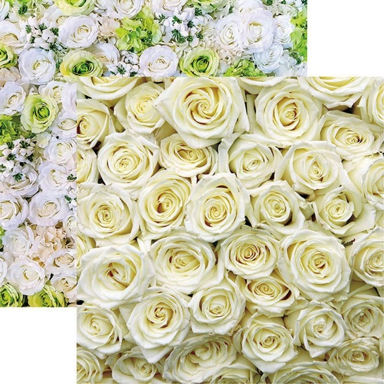 White Roses 12x12 Double Sided Scrapbooking Paper