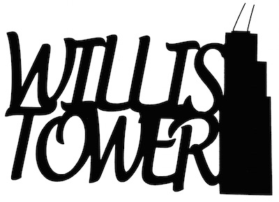 Willis Tower Scrapbooking Laser Cut Title with Tower