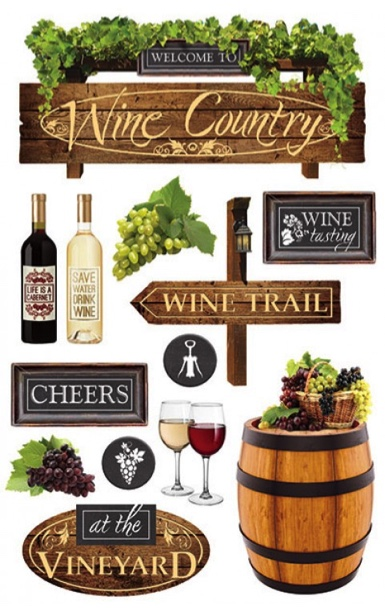 Wine Country 3D Glitter Scrapbooking Stickers
