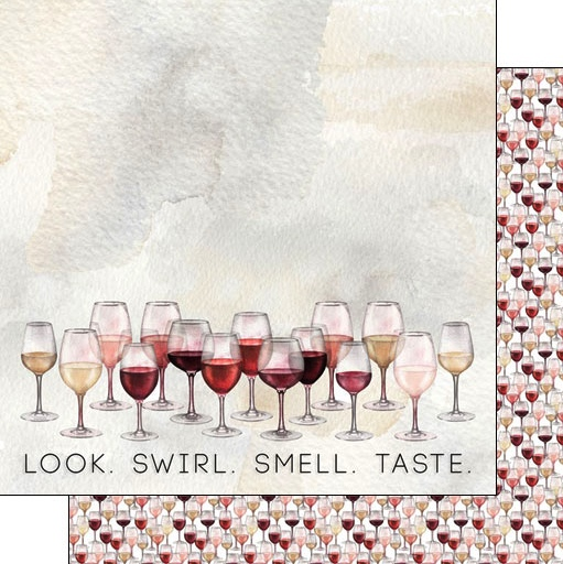 Wine Glasses 12x12 Double Sided Scrapbooking Paper