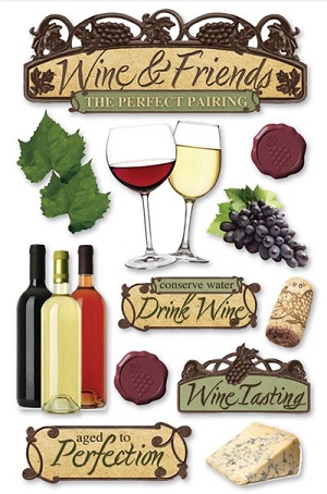 Wine and Friends 3D Glitter Scrapbooking Stickers