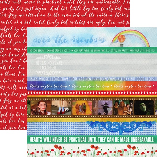 Wizard of Oz Border Strips 12x12 Double Sided Scrapbooking Paper