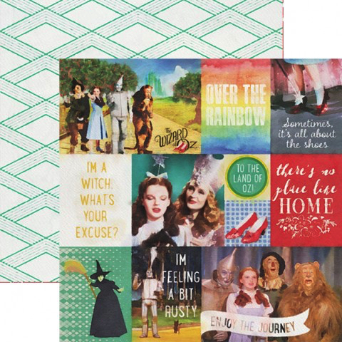 Wizard of Oz Tags 12x12 Double Sided Scrapbooking Paper