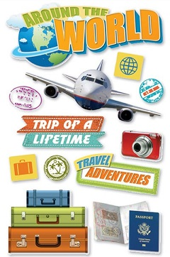 Around the World 3D Glitter Scrapbooking Stickers