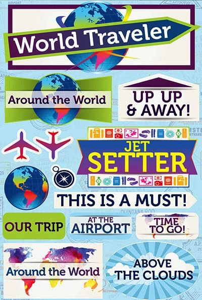World Traveller 3D Scrapbooking Stickers