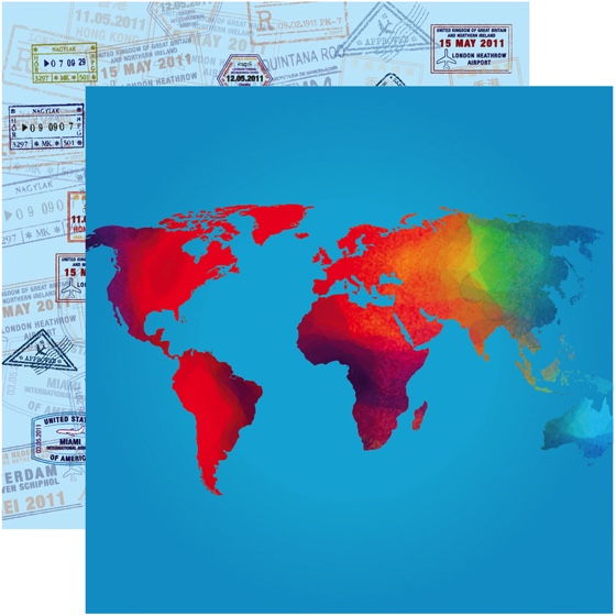 World Traveler 12x12 Double Sided Scrapbooking Paper