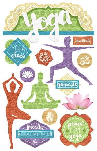 Yoga 3D Glitter Scrapbooking Stickers