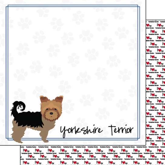Yorkshire Terrier 12x12 Double Sided Scrapbooking Paper