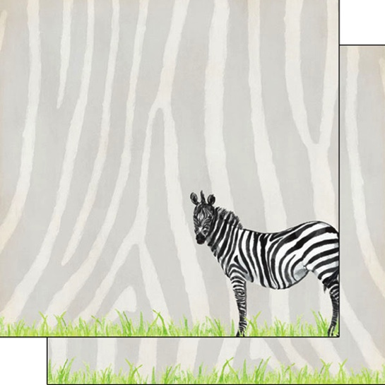 Zebra Safari 12x12 Double Sided Scrapbooking Paper