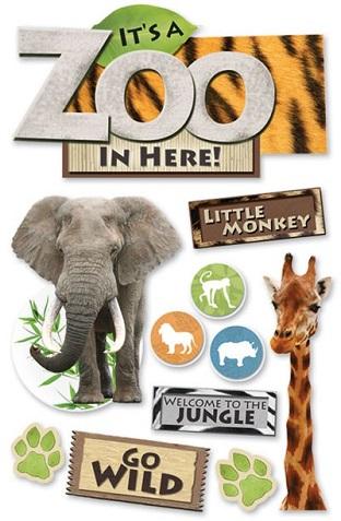 Zoo 3D Glitter Scrapbooking Stickers